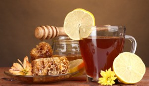 мед, лимон, чай