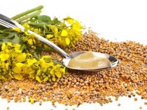 горчица, зерна и цветы