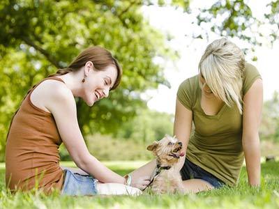 девушки с собакой